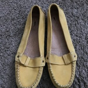 J Crew Women's Yellow Moccasin Suede Loafers